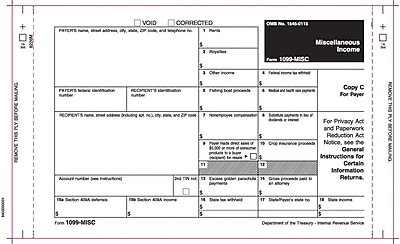 TOPS® 1099MISC Tax Form, 3 Part, White, 9
