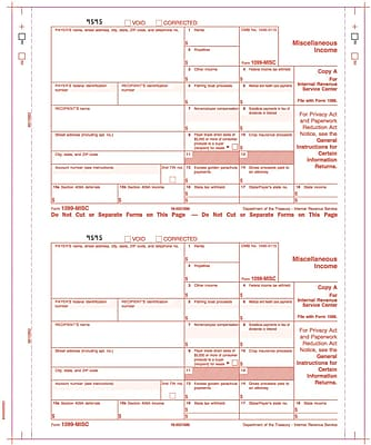 TOPS® 1099MISC Tax Form, 4 Part Carbonless, White, 9