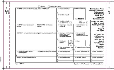 TOPS® 1099R Tax Form, 4 Part Carbonless, White, 9
