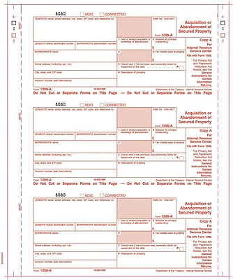 TOPS® 1099A Tax Form, 4 Part, White, 9