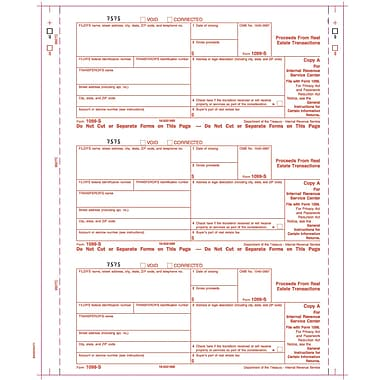 TOPS® 1099S Tax Form, 4 Part Carbonless, White, 9