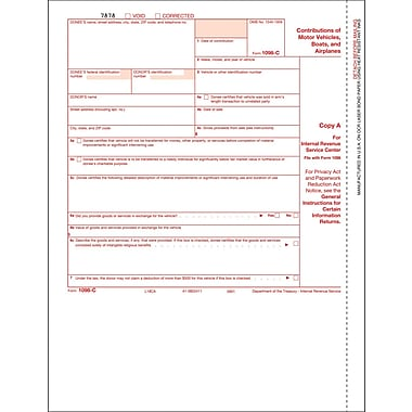 TOPS® 1098C Tax Form, 1 Part, Federal - Copy A, White, 8 1/2
