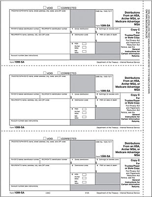 TOPS® 1099SA Tax Form, 1 Part, Payer/State - Copy C, White, 8 1/2