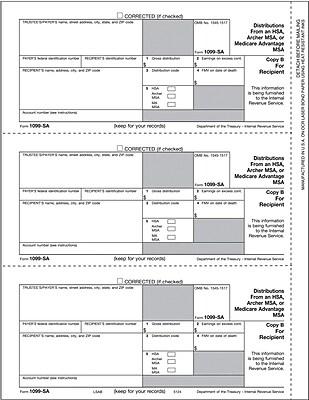 TOPS® 1099SA Tax Form, 1 Part, Recipient - Copy B, White, 8 1/2