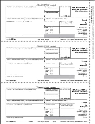 TOPS® 5498ESA Tax Form, 1 Part, Beneficiary, HSA, Archer MSA, or Medicare Advantage MSA Information - Copy B, 50 Sheets/Pack