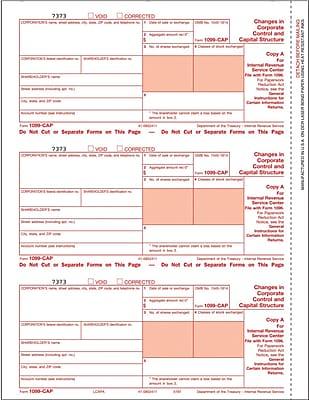 TOPS® 1099CAP Tax Form, 1 Part, Federal - Copy A, White, 8 1/2