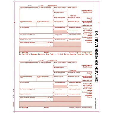 TOPS® 1099DIV Tax Form, 1 Part, Federal - Copy A, White, 8 1/2