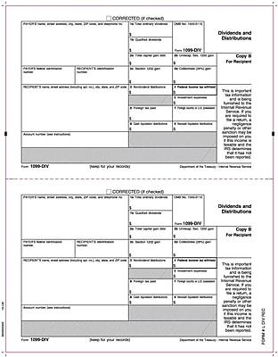TOPS® 1099DIV Tax Form, 1 Part, Recipient - Copy B, White, 8 1/2