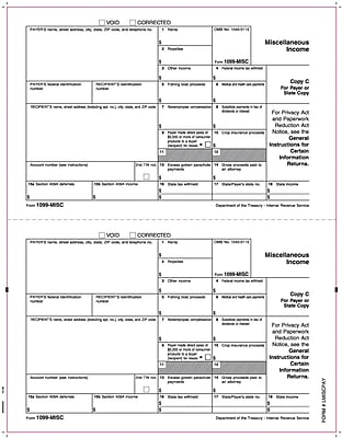 TOPS® 1099MISC Tax Form, 1 Part, Payer/State - Copy C/1, White, 8 1/2
