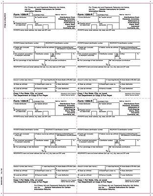 TOPS® 1099R Tax Form, 1 Part, 4 Up Payer Copies 1/D, White, 8 1/2
