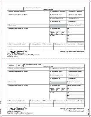 TOPS® W-2 Tax Form, 1 Part, Copy 2 & 1/D, White, 8 1/2