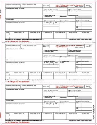 TOPS™ W-2 Tax Form, 1 Part, 3 down, Employer's copies cut sheet, White, 8 1/2