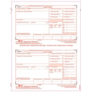 "TOPS® W-2 Tax Form, 4 Part KIT, White, 8 1/2"" x 11"", 100 Forms of Copy A, B, C, D and 100 Envelopes"