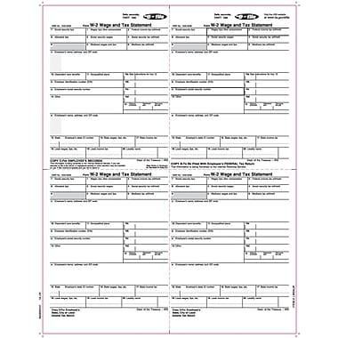 TOPS® W-2 Tax Form, 1 Part, E-File, Employee copies cut sheet, White, 8 1/2 x 11, 2000 Sheets/Carton