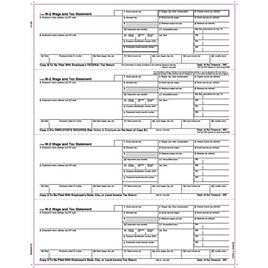 Tops® W-2 Tax Form, 1 Part, 4 Per Page Employee Copies Cut Sheet