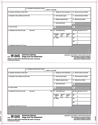 TOPS® W-2 Tax Form - American Samoa, 1 Part, Copy C, White, 8 1/2