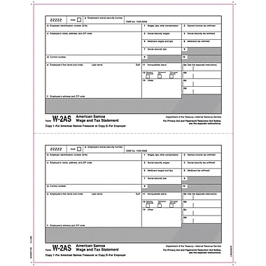 TOPS® W-2 Tax Form - American Samoa, 1 Part, Copy 1/D, White, 8 1/2
