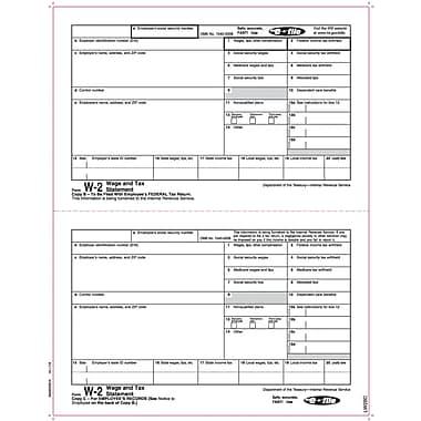 TOPS® W-2 Tax Form, 1 Part, Copy B & C, White, 8 1/2