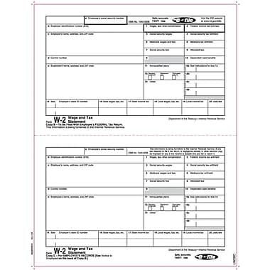 TOPS® W-2 Tax Form, 1 Part, Copy B & C, White, 8 1/2 x 11, 2000 Sheets/Carton