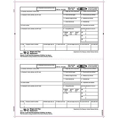 TOPS® W-2 Tax Form, 1 Part, Copy B, White, 8 1/2