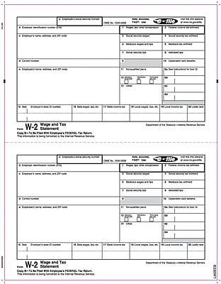 TOPS® W-2 Tax Form, 1 Part, Copy B, White, 8 1/2