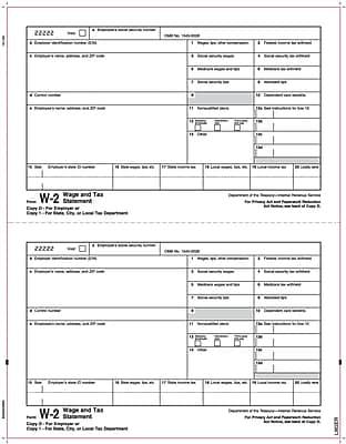 TOPS® W-2 Tax Form, 1 Part, Copy 1/D, White, 8 1/2
