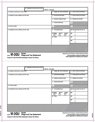 TOPS® W-2 Tax Form for Guam, 1 Part, Copy B, White, 8 1/2