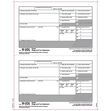 TOPS® W-2 Tax Form for Guam, 1 Part, Copy C, White, 8 1/2