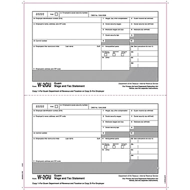 TOPS® W-2 Tax Form for Guam, 1 Part, Copy 1/D, White, 8 1/2