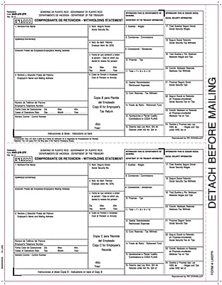 TOPS® W-2 Tax Form for Puerto Rico, 1 Part Copy B&C, W-2 employee copies, White, 8 1/2