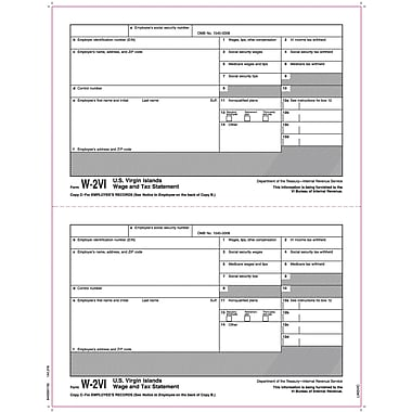 TOPS® W-2 Tax Form for American Virgin Islands, 1 Part, Copy C ,White, 8 1/2