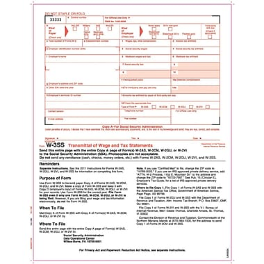 TOPS® W-3SS Tax Form, 1 Part, Copy A, White, 8 1/2