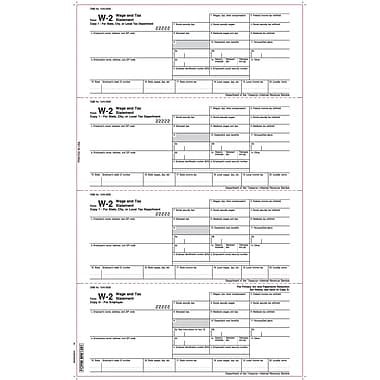 TOPS® W-2 Tax Form, 1 Part, Employer's copies, White, 8 1/2 x 14