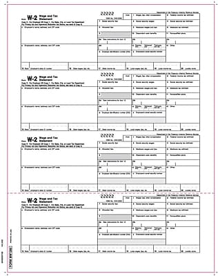 TOPS® W-2 Tax Form, 1 Part, Employer Copies For MW1286, White, 8 1/2