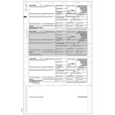 TOPS® 1099R Tax Form, 1 Part, Cut Sheet, ECC Z FOLD, White, 8 1/2 x 14