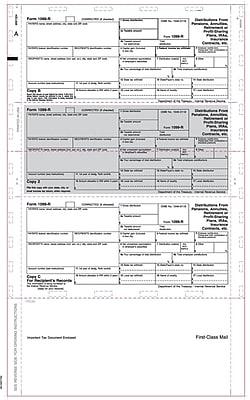 TOPS® 1099R Tax Form, 1 Part, Cut Sheet, ECC Z FOLD, White, 8 1/2 x 14