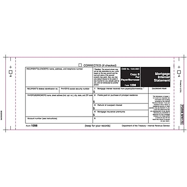 TOPS® 1098 Mortgage Interest Statement, 1 Part, White, 9 x 3 2/3, 102 Forms