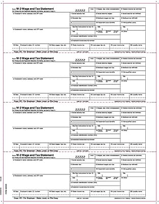 TOPS® W-2 Tax Form, 1 Part, Laser, Employer's copies cut sheet, White, 8 1/2