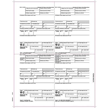 TOPS® W-2 Tax Form, 1 Part, Laser, Employee copies cut sheet, White, 8 1/2 x 11, 2000 Sheets/Carton