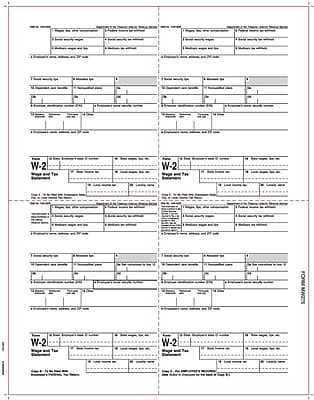TOPS® W-2 Tax Form, 1 Part, Laser, Employee copies cut sheet, White, 8 1/2 x 11, 2000 Sheets/Carton