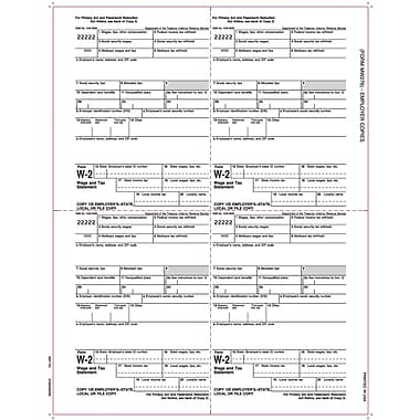 TOPS® W-2 Tax Form, 1 Part, Employer copies cut sheet, White, 8 1/2