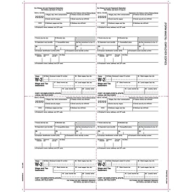 TOPS® W-2 Tax Form, 1 Part, Employer's copies cut sheet, White, 8 1/2