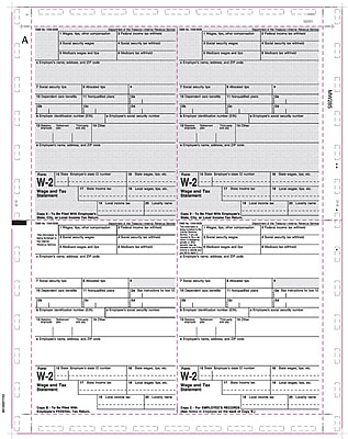 TOPS® W2 Tax Form, 1 Part, White, 8 1/2