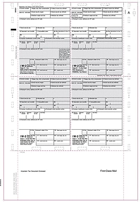 TOPS® W2 Tax Form, 1 Part, White, 9 1/2