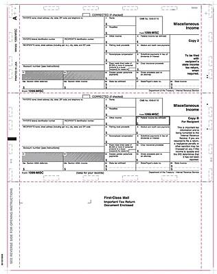 TOPS® 1099MISC Tax Form, 1 Part, Cut Sheet, White, 8 1/2
