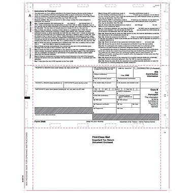 TOPS® 5498 Tax Form, 1 Part, White, 8 1/2