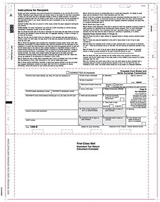 TOPS® 1099B Tax Form, 1 Part, White, 8 1/2