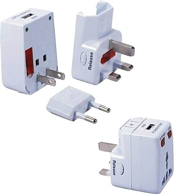 QVS® Premium Universal Travel Power Adapter Kit With USB Charger