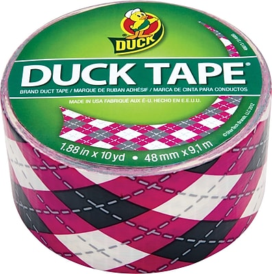 Duck Tape® Brand Duct Tape, Pink Argyle, 1.88