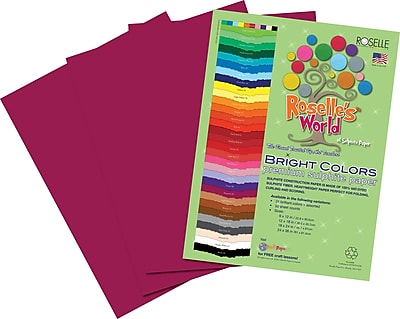 Roselle Bright Colors Sulphite Construction Paper, 76 lb., Magenta, 12
